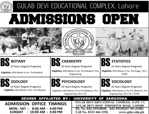 Admission Form 2018 Gulab Devi Educational Complex