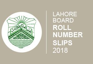 Lahore Board Roll Number Slip 2018