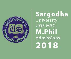 Sargodha University UOS MSC, M.Phil Admissions
