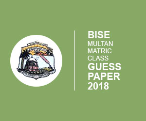 BISE Multan Matric 9th & 10th class Guess Paper 2018