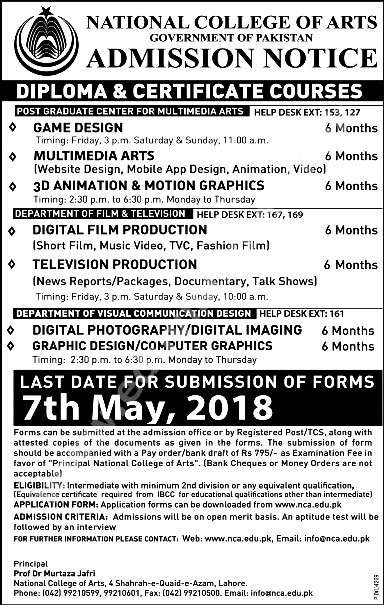 National College Of Arts Lahore Nca Fall And Spring Admissions 2018